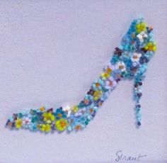 Fused Glass Shoe - Floral LH note - see double easel card shoe on laptop