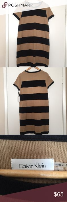 🆕 NWT Calvin Klein Sweater Dress Beautiful Camel And Black Striped Sweater Dress By Calvin Klein. Perfect For Work, Casual Outing Or Date Night.   Details: ✨Short Sleeved ✨58% Cotton ✨33% Polyester  ✨ 9% Nylon ✨Professional Dry Clean Only Calvin Klein Dresses