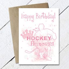 Wish the girl hockey player or fan in your life a Happy Birthday with this fun Birthday hockey greeting card. Is she a hockey princess and love pink? This card design features a female hockey player a