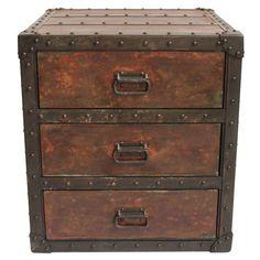 Image of Rivet Metal Side Cabinet Nightstand