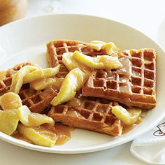 Buttermilk Pumpkin Waffles with Apples and Apple Cider Syrup | MyRecipes.com