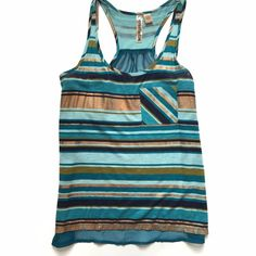 Gold and Blue Striped Tank Sheer blue back. Painted look to the stripes. Metallic gold and blues. Worn a few times but in very good condition. Size M Tops Tank Tops