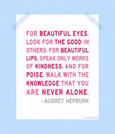 You Are Never Alone Print Printable Audrey Hepburn Quote Print 11 x 14 Pink Art Digital Print Home Decor