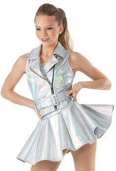 """Moto-Style Metallic Vest and Belt with Asymmetrical Skirt - """"Sing"""""""