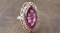 Purple Amethyst Art Deco Ring  White Gold  by My3LadiesJewelry, $249.99