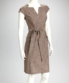 Take a look at this Brown Split-Neck Sheath Dress by Sharagano on #zulily today!