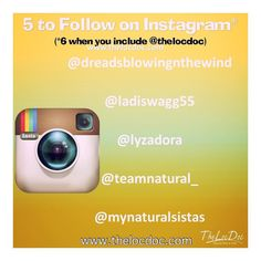 Here is this week's   to follow (besides @thelocdoc ) on Instagram. We hope you  these Instagramers too.    @dreadsblowingnthewind  @ladiswagg55  @lyzadora  @teamnatural_  @mynaturalsistas  #naturalista #dreads #dreadlocks #locnation #locstyles #dreadlocs #teamlocs #loclife #dreadhead #locd #womenwithlocs #thelocdoc #locdoc #teamlocs #locjourney #naturalhairjourney #loclife  #starterlocs #lifeisbeautiful #embraceyourjourney #positivevibes #naturalhairstyles #loctician #austinloctician…