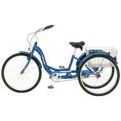 Blue Mens Womens Cruiser Style 3-Wheel Tricycle Bike with Basket