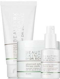 Skincare Daily Essentials by BeautyRx Skincare by Dr. Schultz. $159.00. Protective Vitamin C Rescue Serum- Protect your skin from dangerous and damaging free radicals and oxidative stress, common causes of premature skin aging which also can lead to skin cancer. This set contains the three essential products of any skincare regimen: sunscreen, an exfoliant and an antioxidant.. Advanced Exfoliating Therapy Pads- Easily remove the layer of dead skin cells to reveal ra...