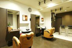 Beauty salon interior design ideas |  + chairs + mirrors + space + decor + Japan + designs  + orange | Follow us on https://www.facebook.com/TracksGroup <<<【MANO ∞ HINATA セットエリア】 美容室 内装