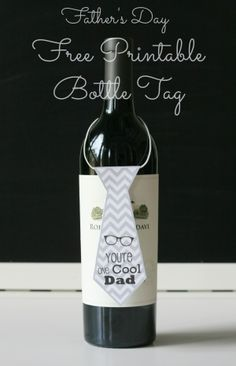 DIY Quick Easy Father's Day Gift -Free Printables Necktie wine Bottle Tags