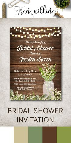 Rustic Bridal Shower Invitation, Mason Jar Bridal Invitation, Printable Bridal Shower Invitation, Baby's Breath Invite, Country Bridal Shower Invitations, Country Wedding Ideas, DIY Bridal Shower. In these theme you can also find wedding invitations, matching games and signs, thank you cards and so much more, just follow the link: tranquillina.etsy.com