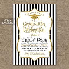 Oro & blanco negro elegante de la invitación por NiftyPrintables