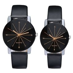 New Fashion Casual Women's Men's Watch PU leather Dial Clock Quartz Watch Couple Lover watches for women men