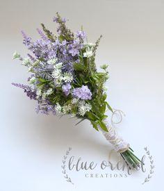 Purple Wildflower Bouquet - Rustic Bouquet, Lavender Wildflower Bouquet, Shabby Chic Bouquet, Bridal Bouquet, Boho Bouquet by blueorchidcreations on Etsy