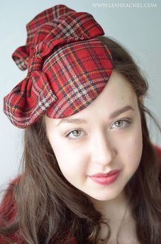 Timeless+Classic+Red+Plaid+Fascinator+Ready+to+by+RubyandCordelias,+$90.00
