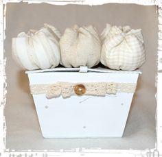 Caixa com tulipas - Box with fabric tulips