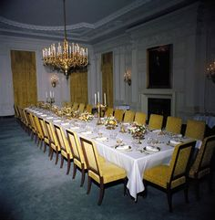 Nov. 7, 1961  India State Dinner  Kennedy White House Floral Arrangement  JFK Library Photo  www.pinkpillbox.com
