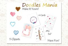 Heart Doodle Art Card by Doodles Mania