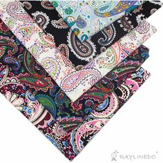 "5X Paisley estilo 100% popelina de algodón tela Fat Bundle 46 x 56 cm ( aproximado 18 "" x 22 "" ) Patchwork tela que acolcha"