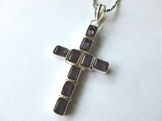 Amethyst & Sterling Silver Gemstone Vintage Cross Pendant Necklace with 18KGP Neck Chain by THECRYSTALCROSS on Etsy https://www.etsy.com/listing/193342355/amethyst-sterling-silver-gemstone