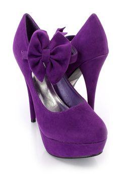 Purple Bow Tie Maryjane High Heels Faux Suede