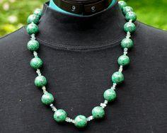 """Rose Garden"" necklace, variation 2.  Polymer clay and gem stones."