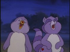 Cozy heart penguin and bright heart raccoon as babies. (Care Bear Cousins )