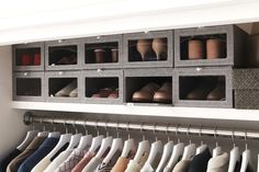 Container Stories: Organizing Your First Apartment: Closet Storage Storage Solutions Closet, Shoe Storage Door, Closet Storage, Closet, Small Closet Solutions, Holiday Storage, Storage, Closet Apartment, First Apartment