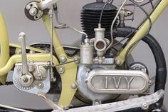 """Ivy 1921 2 ½ HP 224 cc """"Model C"""" Frame # 3906 Engine # 1471 1921 Commencing in 1910, Ivy motorcycles were manufactured by S(idney).A. Newman Ltd. at Aston Cross, Birmingham. The first motorcycles were equipped with Precision engines, around 1914 JAP V-twins were used. The first Ivy two stroke, a 224 cc machine, was ... Read more"""