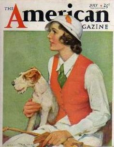 Diana Thorne illustration of herself and her fox terrier, Pat.