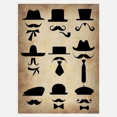 Hat Glasses Moustache II Print, 34€, now featured on Fab.