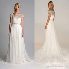 Wholesale cheap wedding dresses 2014 online, 2014 spring summer - Find best qM-2014 fall marchesa beach wedding dresses bateau cap sleeve appliques laA line court train chiffon lace charming white bridal gowns at discount prices from Chinese a-Line wedding dresses supplier on DHgate.com.
