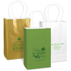 "Personalized medium twisted handled bags make every gift special. Perfect for small gifts or party favors. Free online preview. Choice of 14 bag colors, 40+ imprint colors and typestyles. White twisted handles and white interior. Size of bag is 5.25"" x 8.25"" x 3.25""."
