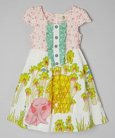 7a2b14f9a0d09 Look what I found on  zulily! White  amp  Green Garden Elephant Dress -