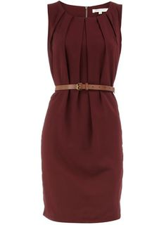 Like the style (as long as dress is knee-length) and color is okay but would probably pair with something (cardigan) brighter. Polyvore Outfits, Work Fashion, Fashion Outfits, Business Casual Attire, Maroon Dress, Burgundy Dress, Vestido Casual, Work Attire, Office Attire