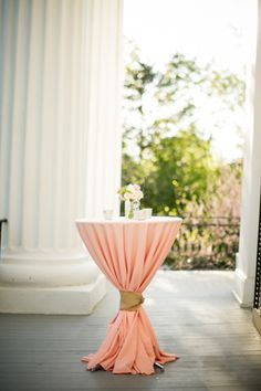 prettiest peach cocktail table linens | Scobey Photography #wedding