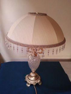 Light gold silk umbrella shade on crystal base. CMB Designs Lamps and Shades
