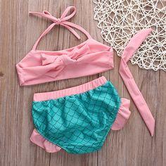 Aliexpress.com: Comprar Muchachas del verano del bebé sirenita de trajes de baño bikini Tankini set Swimsuit Swimwear Bathing Suit pink girl traje de baño biquini roupas de traje de baño trajes fiable proveedores en bling-bling  store