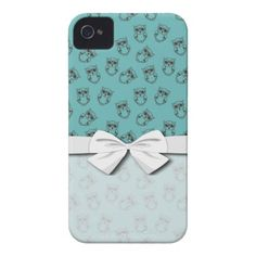 cute owl outlines on blue iPhone 4 case