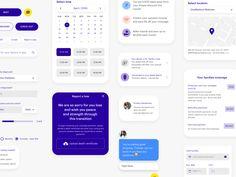 Insurance App UI system by André Pires on Dribbble Wireframe Design, Dashboard Design, App Ui Design, Mobile App Design, Web Design, Ui System, Design System, App Promotion, Card Ui