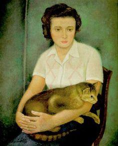 Young woman with cat (1949) - Olga Sacharoff