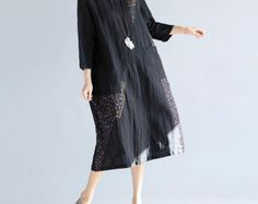 Loose Round Collar Cotton and linen Big swing dress