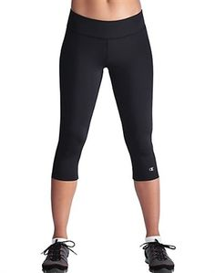 Champion Women's Double Dry Absolute Workout Knee Tights 8240 - These pants are tight(s)! OK. That was bad. Tag-free contoured waist provides flexible, streamlined fit. Silky Double Dry fabric wicks sweat, keeps you cool and dry. Knit-in four-way stretch gives you maximum ease of movement.