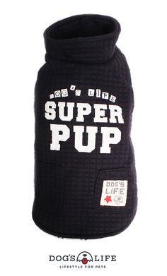 Superpup Lightweight Puffer Vest. Dog's Life's tall Superpup Lightweight Puffer Vest. A warm, lined jacket featuring high neckline, a soft coral fleece lining, two rows of press-studs and two outer pocket on the back. The vest is finished with a screen print SUPERPUP on the back and Dog's Life label sewn onto the right pocket. Soft Corals, Line Jackets, Puffer Vest, Dog Life, The Row, Screen Printing, Studs, Label, It Is Finished