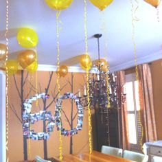 Moms 60th birthday decoration... A picture collage and simple floating balloons...thanks for the inspiration pinterest.