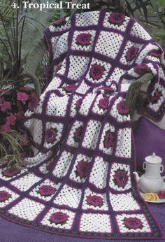 Granny Square Afghan Crochet Patterns - Red Heart's World of Grannies - 7 Designs