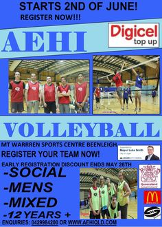 #aehivolleyball starts all over again, yeahhh!!!!!!  Season Two. EARLY Registrations end no Thursday, May 26th.  Spots are limited.  First in - First Serve!