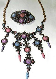 Czech Art Nouveau Ornate Filigree Necklace and Brooch