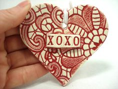 2014 DIY Ornaments Ideas - XOXO Wedding Favor XOXO Heart Ceramic Lace